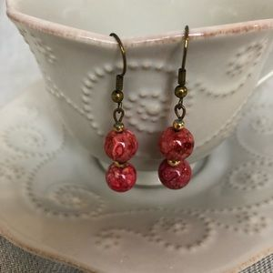 Jewelry - 3/$15 Vintage Red & White Marbled Dangle Earrings